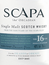 Scapa Single Malt Whisky 16 Years Old