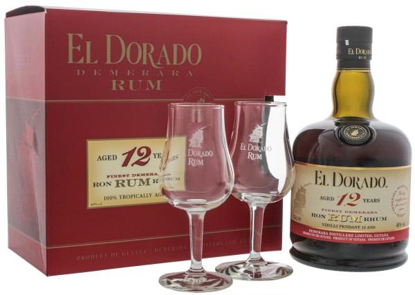 El Dorado Rum 12 Jahre plus 2 Gläser, 0,7 L, 40%