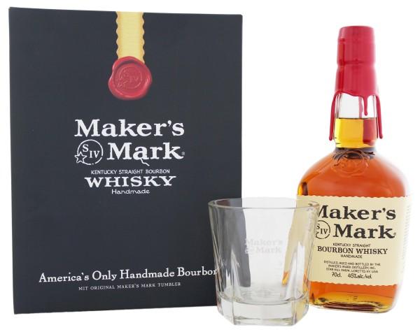 Maker's Mark Bourbon 0,7L, 45% Geschenkset mit Glas