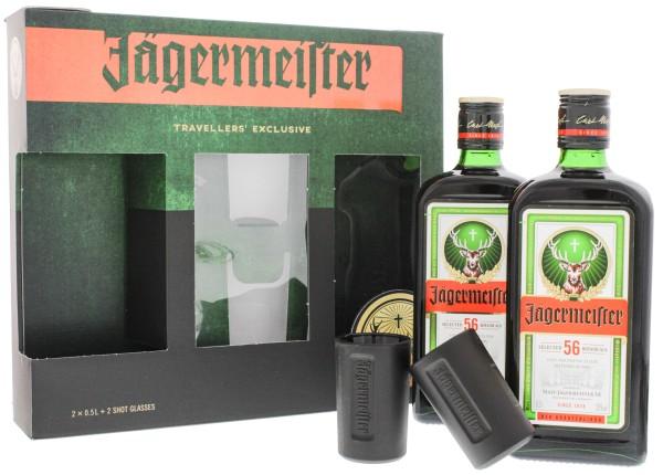 Jägermeister Kräuterlikör Set 2 x 0,5L 35% inkl. 2 Shotgläser