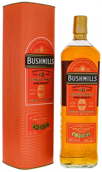 Bushmills Irish Single Malt Whiskey 10 Jahre Sherry Cask Finish 1,0L 46%