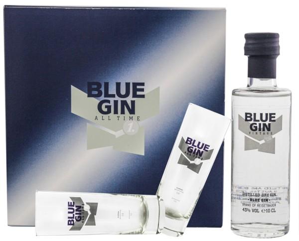 Blue Gin Box inkl. Flasche 0,1L-43%- + 2 Blue Gin Gläser 0,2L
