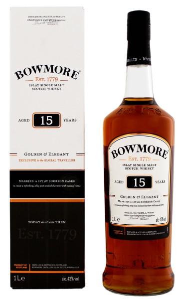 Bowmore 15 Jahre Golden and Elegant Malt Whisky 1,0L 43%
