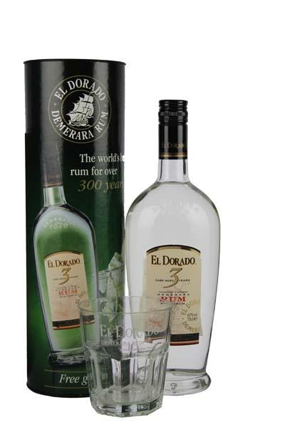 El Dorado Rum 3 Jahre plus Glas, 0,7 L, 40%