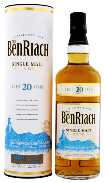 BenRiach Single Malt Whisky 20 Years Old, 0,7 L, 43%