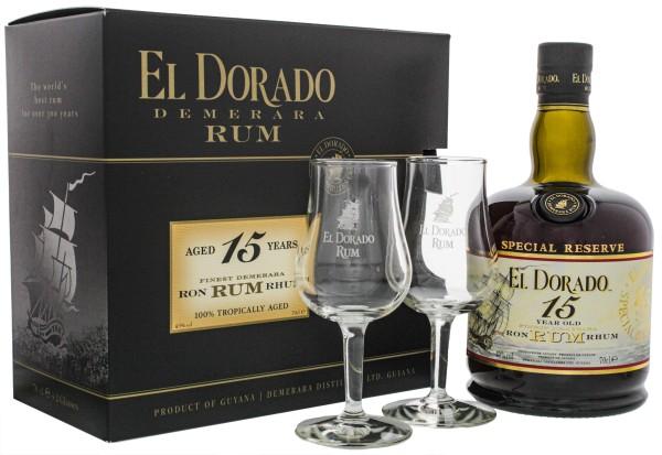 El Dorado Rum 15 Jahre und 2 Gläser, 0,7 L, 43%