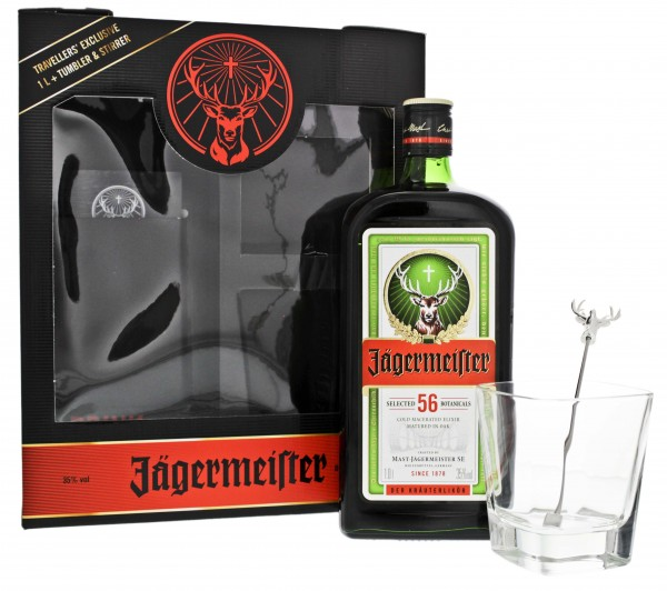 Jägermeister Kräuterlikör 1,0L 35% Set mit Tumbler und Stirrer