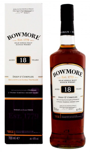 Bowmore Single Malt Whisky 18 Jahre Deep and Complex 0,7L 43%