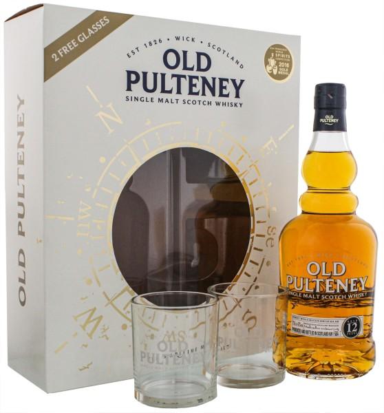 Old Pulteney Single Malt Whisky 12 Jahre plus 2 Gläser 0,7 L 43%