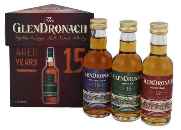 Glendronach Set 12/15/18 Jahre 3 x 0,05L Miniaturen