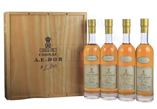 A.E. Dor Cognac Coffret Cru Collection, 4 x 0,2 L, 40%