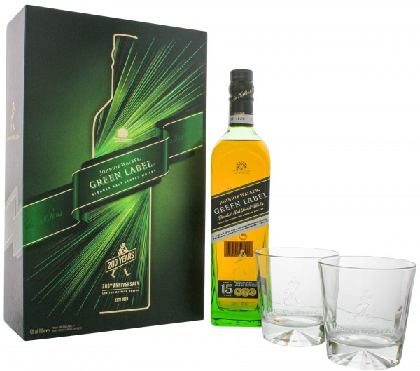 Johnnie Walker Blended Scotch Whisky Green Label 0,7L 43% inkl. 2 Gläser