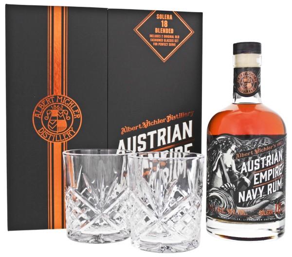Austrian Empire Navy Rum Solera 18 Jahre 0,7L 40% inkl. 2 Gläser