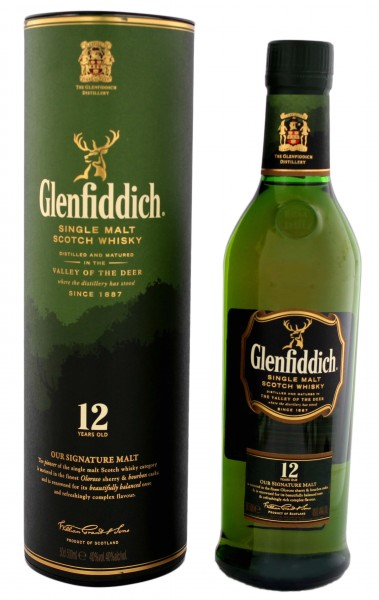 Glenfiddich Single Malt Whisky 12 Jahre, 0,5 L, 40%