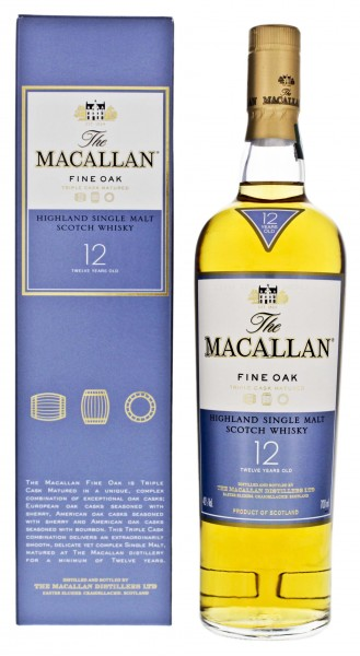 Macallan Single Malt Whisky Fine Oak 12 Jahre, 0,7 L