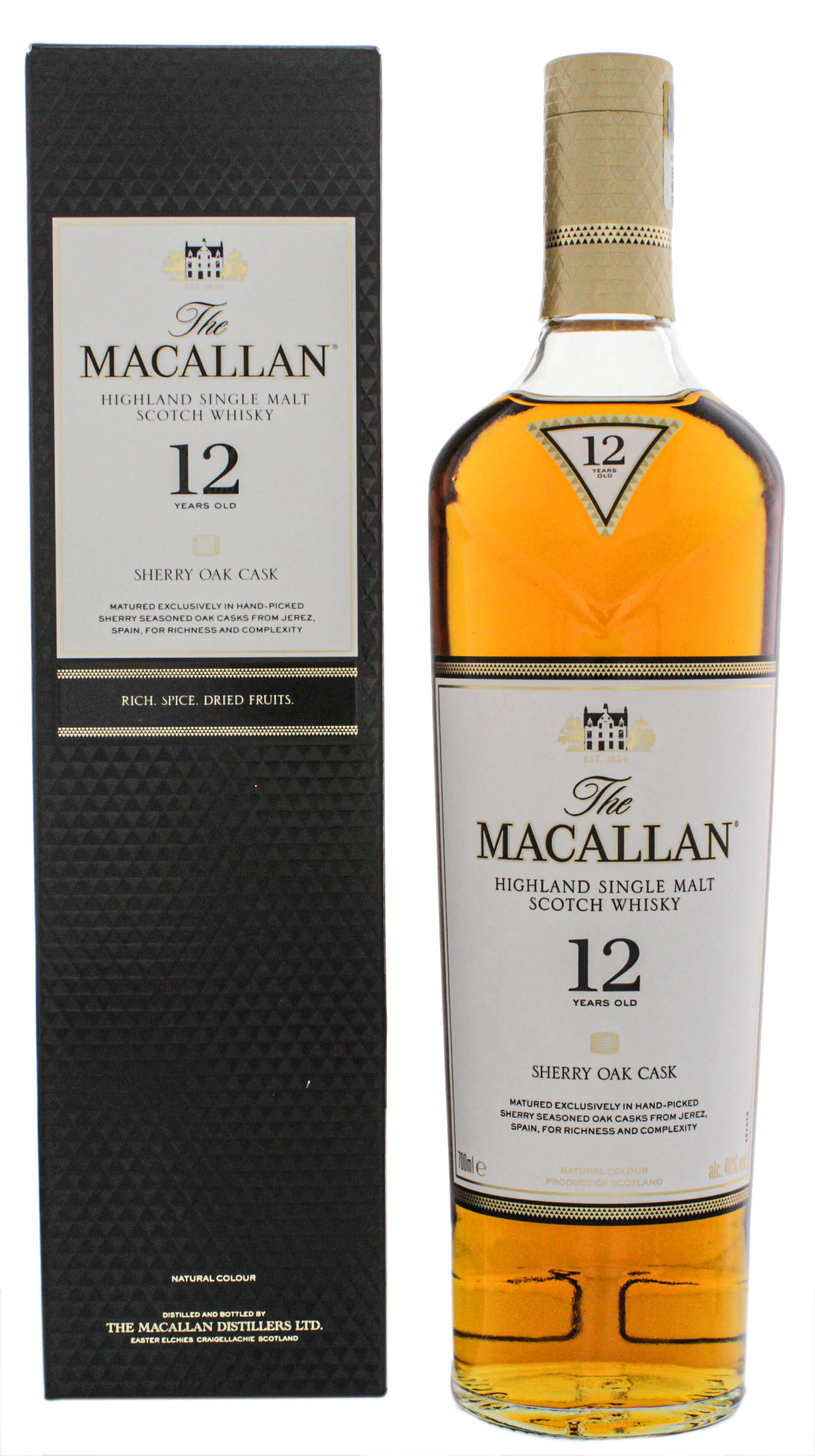 Macallan Single Malt Whisky Sherry Wood 12 Jahre, 0,7 L, 40%