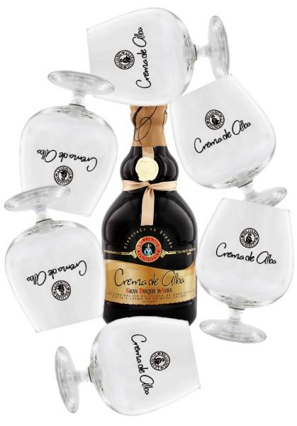 Crema d'Alba Gran Duque, 0,7 L, 17% inkl. 6 Crema d'Alba Gläser