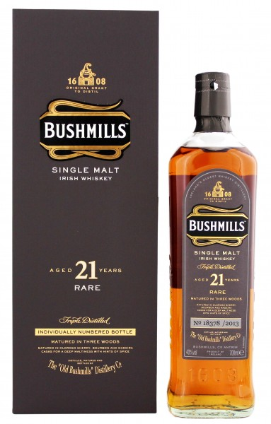 Bushmills Irish Single Malt Whiskey 21 Jahre, 0,7 L, 40%