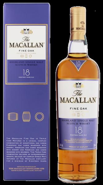 Macallan Single Malt Whisky Fine Oak 18 Jahre, 0,7 L, 43%