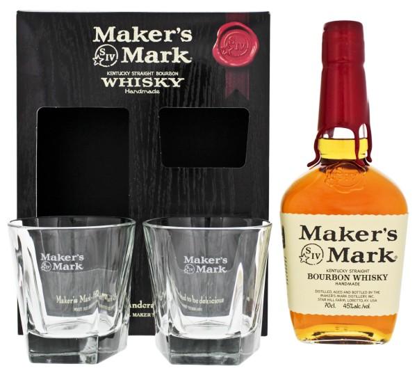 Maker's Mark Bourbon 0,7L 45% Geschenkset mit 2 Gläser