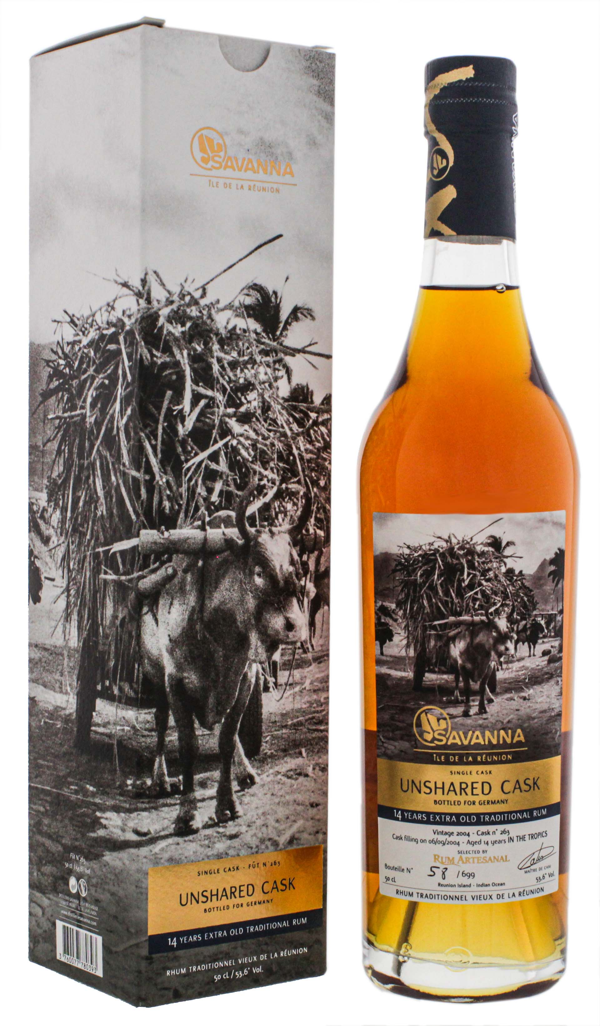 Savanna Rhum Vieux Extra Old Traditionnel Unshared Cask No. 263 Single Cask 14 Jahre 0,5L 53,6%