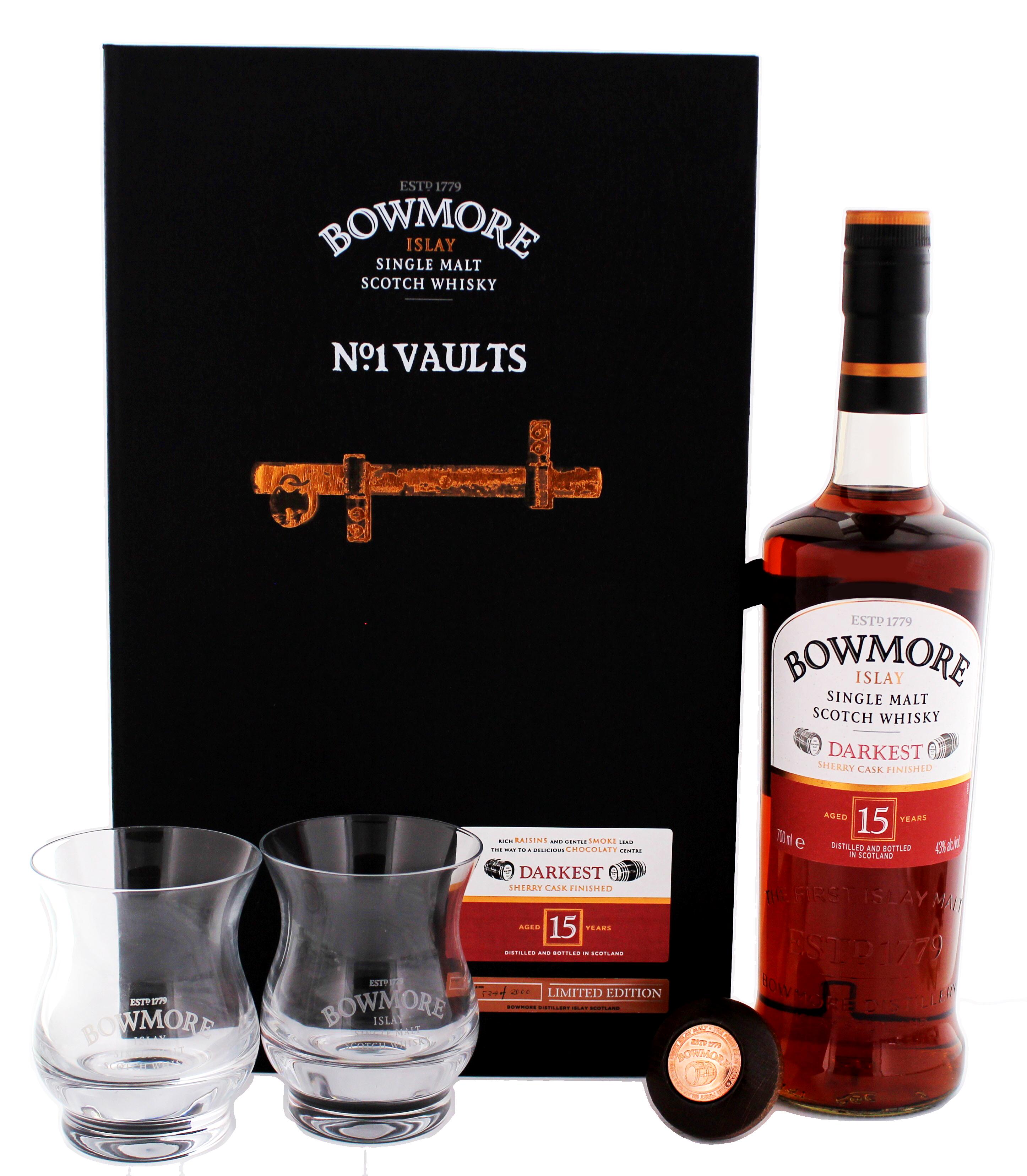 bowmore islay single malt whisky darkest 15 jahre set mit 2 gl ser jetzt kaufen rum online. Black Bedroom Furniture Sets. Home Design Ideas