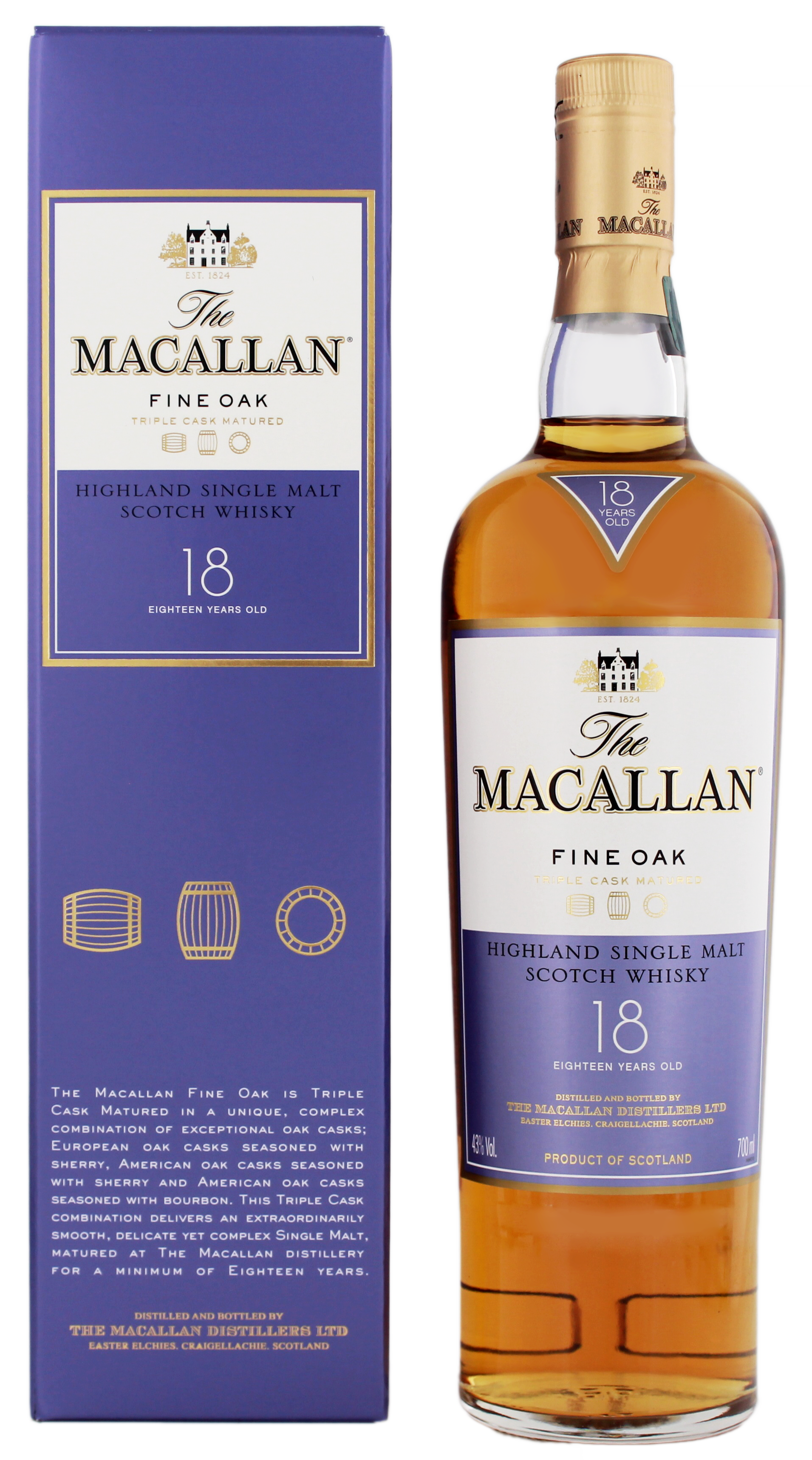 Macallan Single Malt Whisky Fine Oak 18 Jahre 0,7L 43%